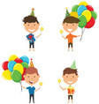 happy boys carrying colorful wrapped gift boxes vector image