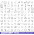 100 efficiency icons set outline style vector image