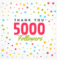 5000 followers success template with colorful vector image