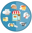 Advertising label with text market shopping vector image