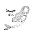 Beautiful cute cartoon mermaid with long hair vector image vector image