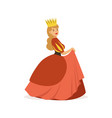 Beautiful majestic queen or princess in red dress