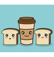 bread and cup coffee cartoon graphic design vector image vector image