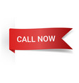 call now realistic detailed curved paper banner vector image vector image