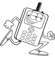 Cartoon cell phone running vector image vector image