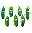 Cartoon ripe green organic cucumber vegetables vector image