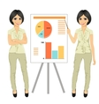 chinese businesswoman standing near flip board vector image