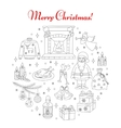 Christmas and New Year holiday line icons set vector image
