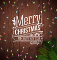 Christmas card with typography design Wooden vector image