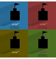 Color set tower Flat modern web button with long vector image vector image