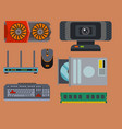 computer parts network component accessories vector image vector image