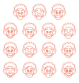 Contour monkey face expressions vector image vector image