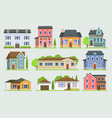 cottage house facede city street view vector image vector image