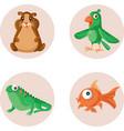 cute mascots and pet shop icons set vector image