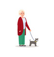 cute smiling senior woman walking with cute dog vector image