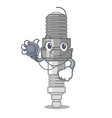 doctor spark plug in the character shape vector image vector image