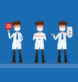 doctors stand holding a sign stay at home vector image