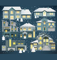 family houses winter vector image vector image