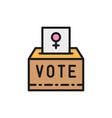 female sign on ballot women voting feminism vector image
