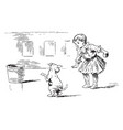 fetch playing with a child and dog vintage vector image vector image