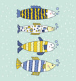 fish editable set blue and yellow vector image vector image
