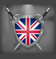 flag of united kingdom the shield with national vector image vector image