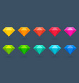 flat diamonds collection colorful gemstone vector image