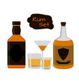 flat rum set alcohol drink glasses shots bottles vector image vector image