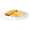 French fries and cutlet vector image vector image