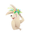 funny cheerful bunny or rabbit smiling kids animal vector image