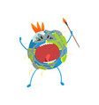 furious cartoon earth planet character screaming vector image vector image