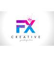 fx f x letter logo with shattered broken blue vector image vector image