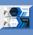 geometric blue business banners set with image vector image vector image