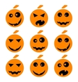 Halloween pumpkin emoji emoticons set vector image