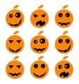 Halloween pumpkin emoji emoticons set vector image