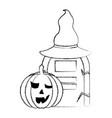 halloween pumpkin gravestone hat horror vector image