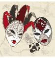 Hand Drawn Venetian carnival masks vector image