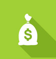 icon money bag with a long shadow vector image vector image