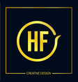 initial letter hf logo template design vector image