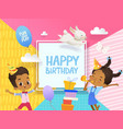 joyous african-american boy and girl in birthday vector image
