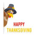 look out corner thanksgiving turkey in pilgrim vector image vector image