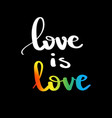 love is love gay pride slogan with hand written vector image