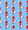 owl in hat and scarf seamless pattern vector image vector image