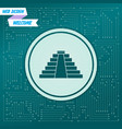 pyramid icon on a green background with arrows in vector image