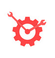 red repair service logo like clock vector image vector image