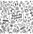 Seamless doodle pattern with school supplies vector image vector image