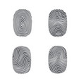 set of fingerprint in black silhouette on white vector image