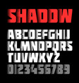 shadow font alphabet and numbers vector image