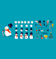 snowman animation kit christmas construction vector image vector image