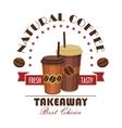Takeaway coffee paper cups badge vector image